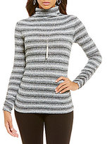 M.S.S.P. Mock Neck Ombre Ribbed Knit Top