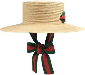 Gucci Straw Boater Hat w/ Web Trim