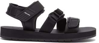 Prada Clip Buckle Fastening Velcro Strap Sandals - Mens - Black