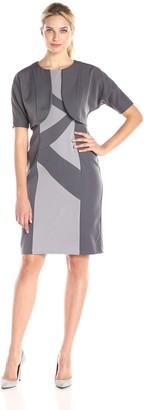Maya Brooke Women's Color Block Printed Dress with Jacket Slate/Grey 8