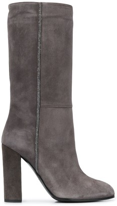 Fabiana Filippi Beaded High-Heel Boots