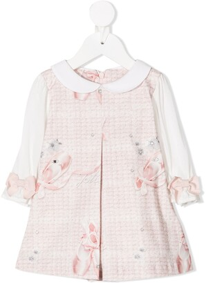 Lapin House Floral Bow Long-Sleeve Dress