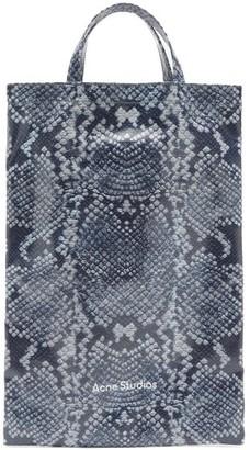 Acne Studios Medium Snake-print Cotton-canvas Tote Bag - Blue White
