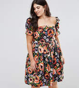 Club L plus Dark Base Floral Print Summer Dress with Special Sleeves