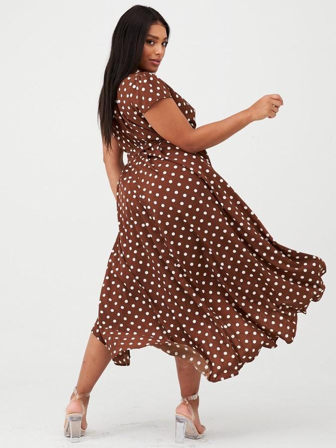 Ax Paris Curve Spotted Dip Hem Midi Dress - Brown