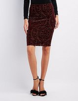 Charlotte Russe Velvet Patterned Pencil Skirt