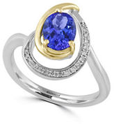 Effy Diamonds, Oval Tanzanite, 14K Yellow Gold and 14K White Gold Ring