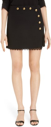 Givenchy 4G Button Lace & Wool Faux Wrap Miniskirt