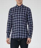Reiss Carzorla - Checked Linen Shirt in Black, Mens