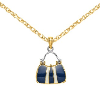 14K Yellow Gold and White Rhodium Moveable Navy Top Handle Handbag White Stripe Charm with 18-inch Cable Rope Chain by Versil