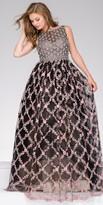 Jovani Floral Applique Sheer Rhinestone Ball Gown