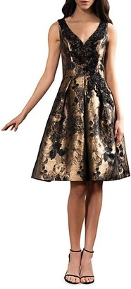 Theia Embellished Brocade Flare Dress