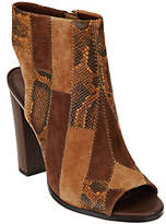 C. Wonder As Is Leather Open Toe Booties w/ PatchworkDetail
