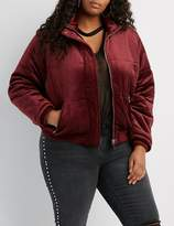Charlotte Russe Plus Size Velvet Quilted Puffer Jacket