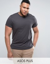 Asos PLUS T-Shirt With Crew Neck And Roll Sleeve In Black