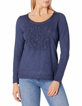 Tribal Women's L/S Embroidered TOP-Nautical XL