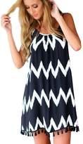 Fashion Story Women Summer Sleeveless Wavy Stripe Tassels Cocktail Beach Dress (US0-2)