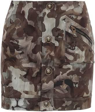 Versace Printed Stretch-cotton Gabardine Mini Skirt