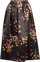 Rochas Daisy-print duchess-satin skirt
