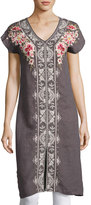 Johnny Was Christine Front-Slit Linen Dress, Gray
