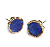Lapis Gold Plate Studs - Afghanistan