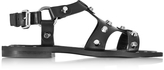 McQ Black Leather Solenie Gladiator Sandal w/Studs