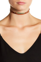 Chan Luu 18K Gold Plated Sterling Silver & Shaded Green Opal Leather Wrap Choker