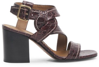Chloé Candice Croc-Embossed Leather Sandals