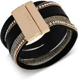 GUESS Gold-Tone Crystal Faux Leather Magnetic Cuff Bracelet