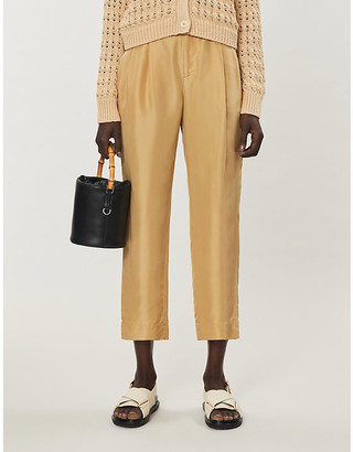 Vince Cropped silk-satin trousers