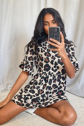 boohoo Leopard Print Smock Dress