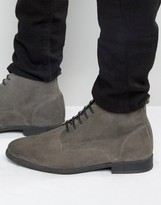 Asos Lace Up Chukka Boots in Burnished Gray Suede