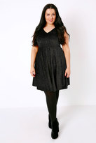 Yours Clothing Black & Multi Velour Glitter Skater Dress With V-Neckline