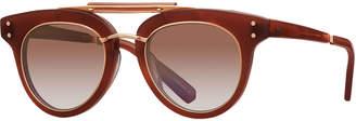 Cat Eye Mr. Leight Gradient Acetate Cat-Eye Sunglasses, Red/Brown