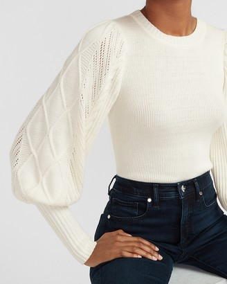 Express Cable Knit Puff Sleeve Sweater