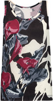 Carven Floral-print crinkled-satin and cotton-jersey tank