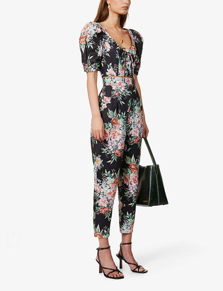 Zimmermann Bellitude floral-print tapered high-rise linen trousers