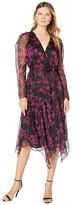 Vince Camuto Long Sleeve Iris Silhouette Asymmetrical Hem Wrap Front Dress (Rich Black) Women's Clothing