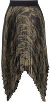 Enza Costa Asymmetric Pleated Printed Satin Skirt