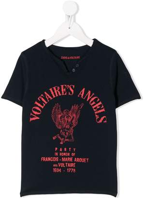 Zadig & Voltaire Kids Voltaire's Angles print henley T-shirt