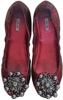 Miu Miu Burgundy Leather Flats