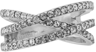 White Gold Plated Double Crossed Ring with Luxury Sparkling Crystals Pave Design by Matashi sizes