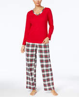 Charter Club Flannel Mix It Top and Printed Pants Pajama Set, Created for Macy's