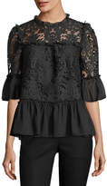Kate Spade Tapestry Lace Bell-Sleeve Peplum Top