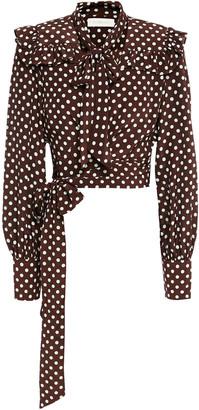 Zimmermann Cropped Polka-dot Silk Crepe De Chine Wrap Top