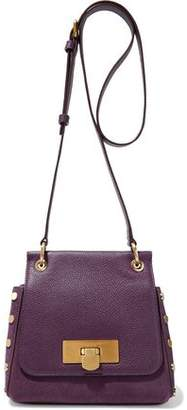 Donna Karan Studded Suede And Pebbled-leather Shoulder Bag