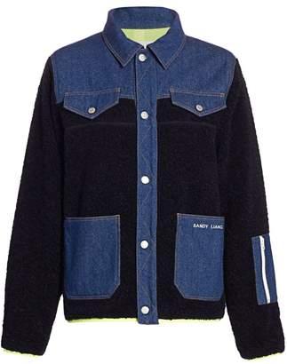 Sandy Liang Dorne Mixed-Media Fleece Denim Jacket