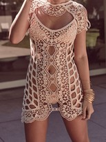 For Love & Lemons Swim Barcelona Crochet Cover Up in Ivory