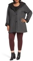 Gallery Plus Size Women's Hooded Double Face Knit Coat