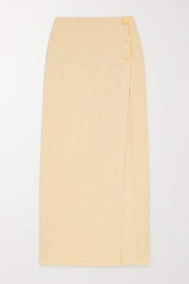 Le Kasha + Net Sustain X Lg Electronics Organic Linen Midi Skirt - Pastel yellow